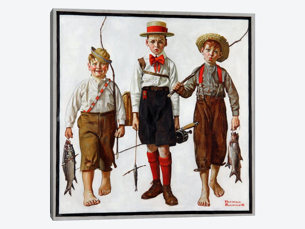 The Catch by Norman Rockwell 1-piece Canvas Art Print