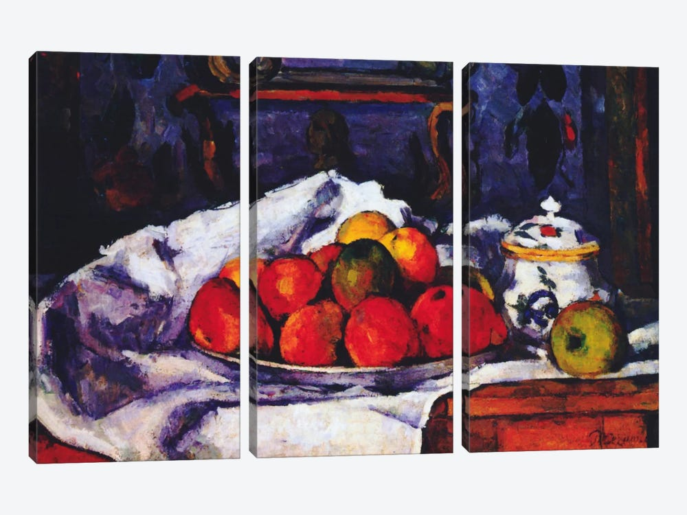 Still Life Bowl of Apples by Paul Cezanne 3-piece Canvas Art
