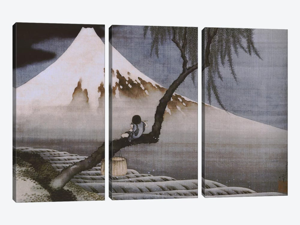 Boy on Mt Fuji by Katsushika Hokusai 3-piece Canvas Art