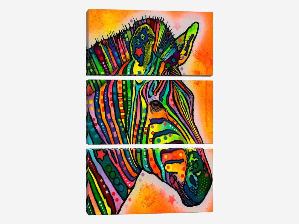 Zebra by Dean Russo 3-piece Canvas Art Print