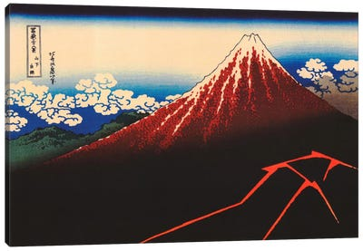 Lightning Below The Summit by Katsushika Hokusai Canvas Wall Art