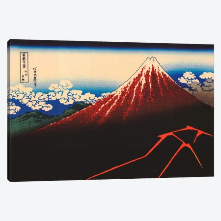 Lightning Below The Summit Canvas Print #1353} by Katsushika Hokusai Canvas Wall Art