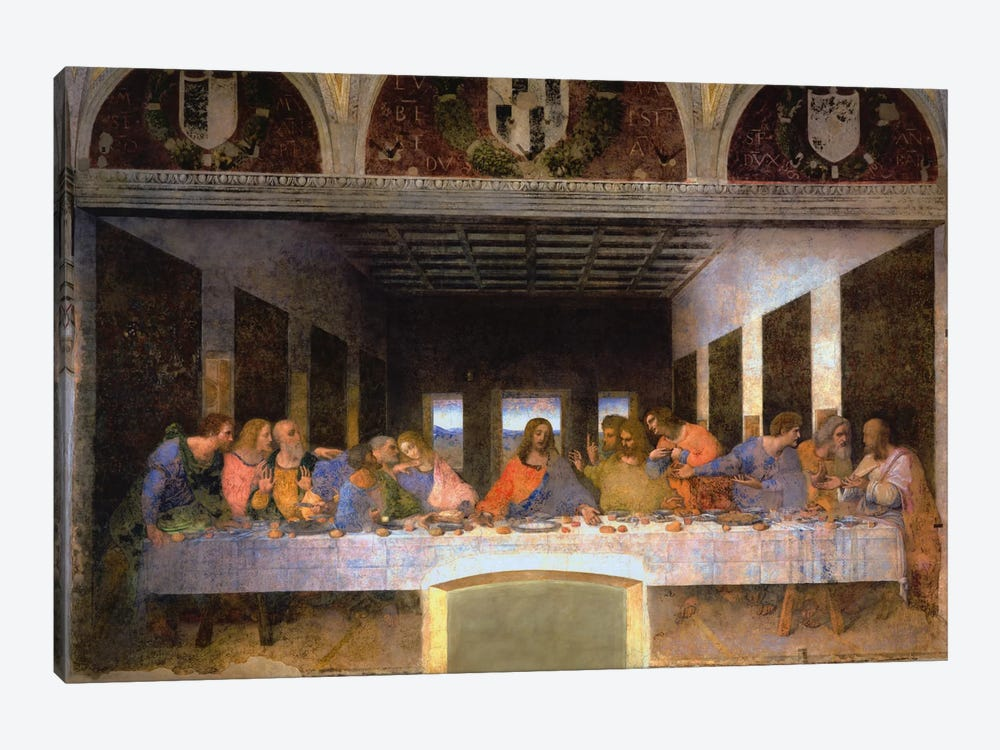 The Last Supper, 1495-1498 1-piece Canvas Print