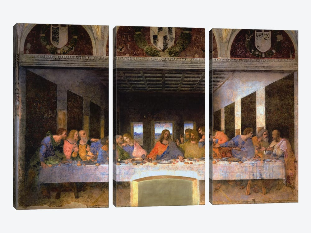The Last Supper, 1495-1498 3-piece Canvas Print