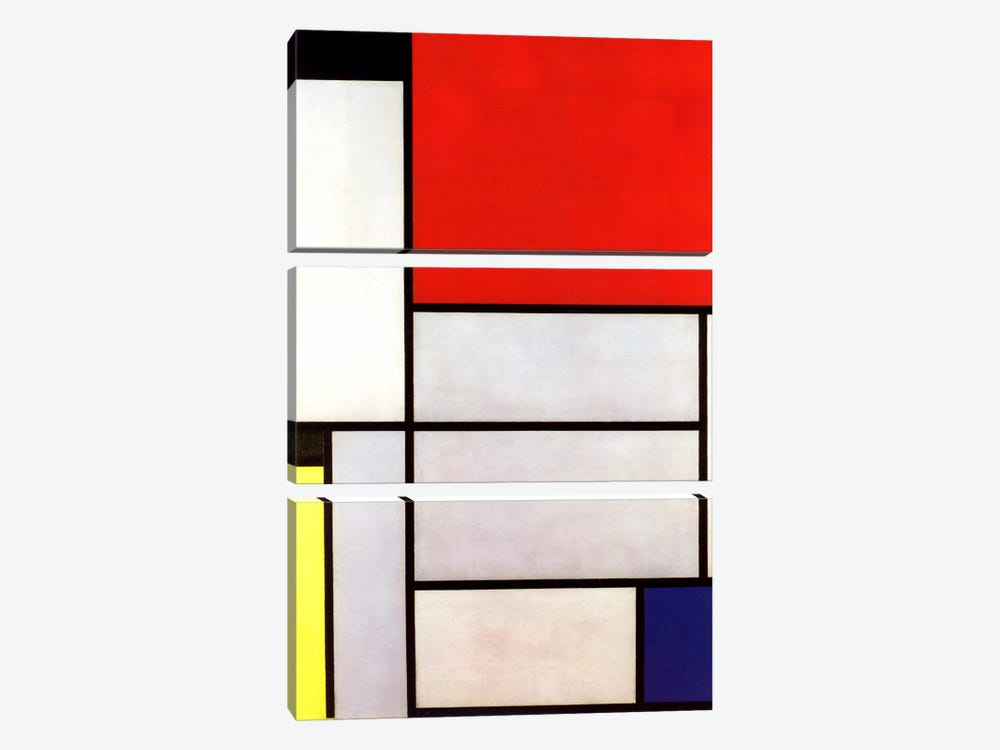 Tableau l, 1921 by Piet Mondrian 3-piece Canvas Wall Art