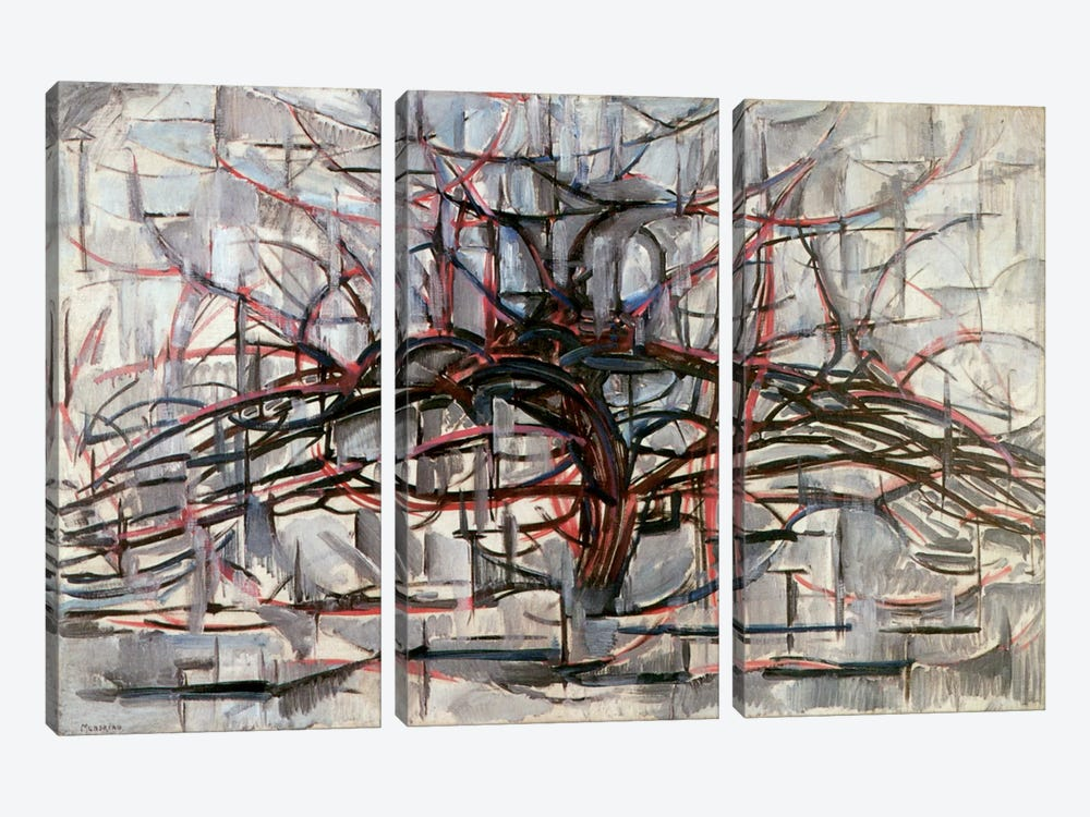 Tree, 1911 by Piet Mondrian 3-piece Canvas Art Print