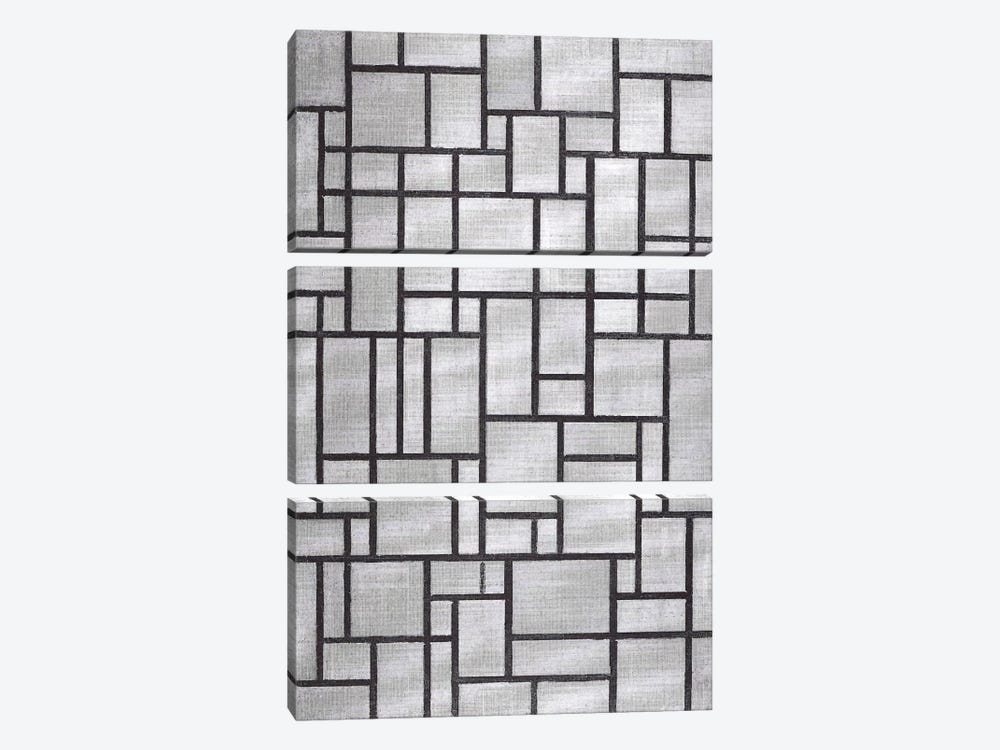 Composition in Gray, 1919 by Piet Mondrian 3-piece Canvas Artwork