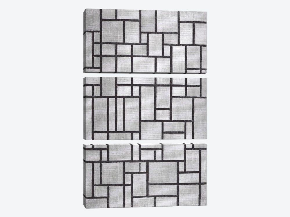 Composition in Gray, 1919 by Piet Mondrian 3-piece Canvas Artwork
