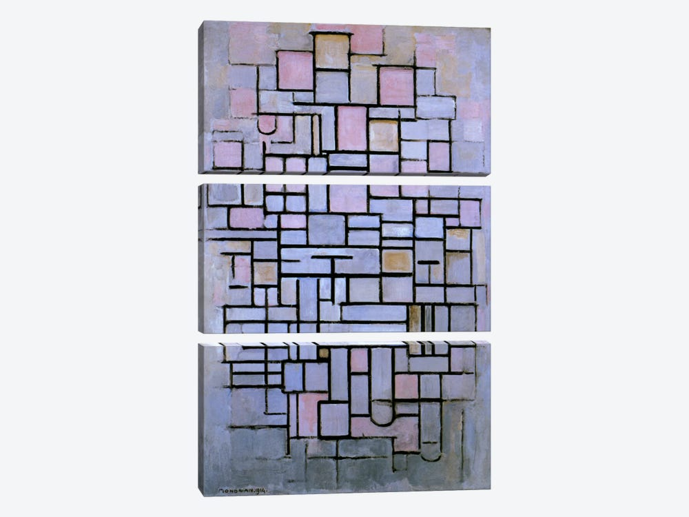 Composition 6, 1914 by Piet Mondrian 3-piece Art Print
