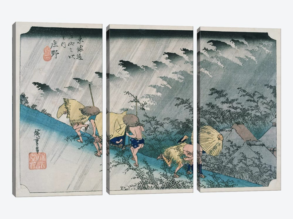 Shono, hakuu (Shono: Driving Rain) by Utagawa Hiroshige 3-piece Canvas Wall Art