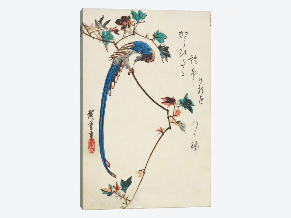Blue Magpie On Maple Branch by Utagawa Hiroshige 1-piece Art Print
