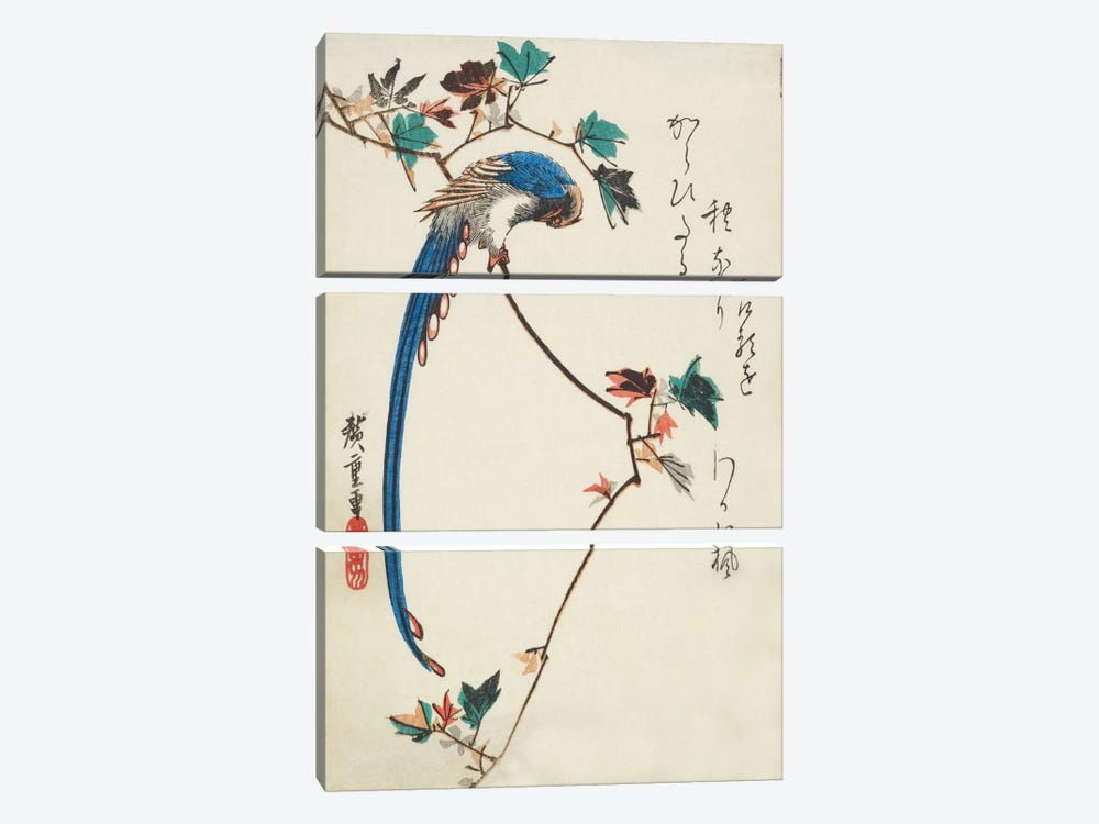 Blue Magpie On Maple Branch by Utagawa Hiroshige 3-piece Art Print