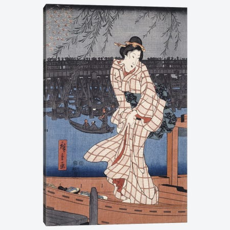 Ryogoku noryo ohanabi (Evening Cool and Great Fireworks at Ryogoku Triptych Panel II) Canvas Print #13606} by Utagawa Hiroshige Canvas Art Print