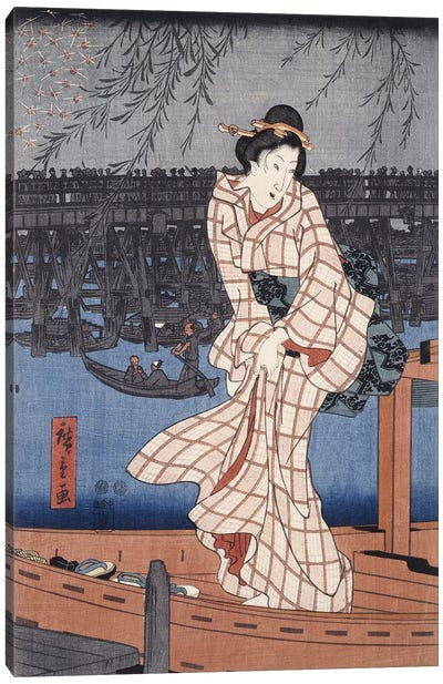 Ryogoku noryo ohanabi (Evening Cool and Great Fireworks at Ryogoku Triptych Panel II) Canvas Art Print