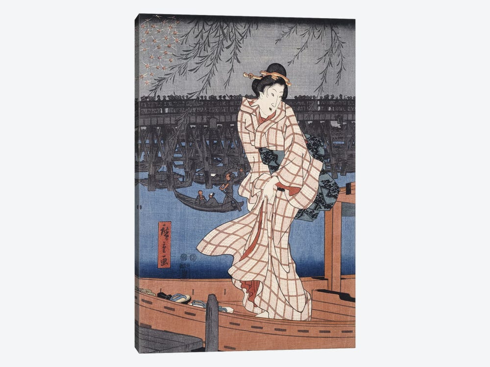 Ryogoku noryo ohanabi (Evening Cool and Great Fireworks at Ryogoku Triptych Panel II) by Utagawa Hiroshige 1-piece Canvas Art