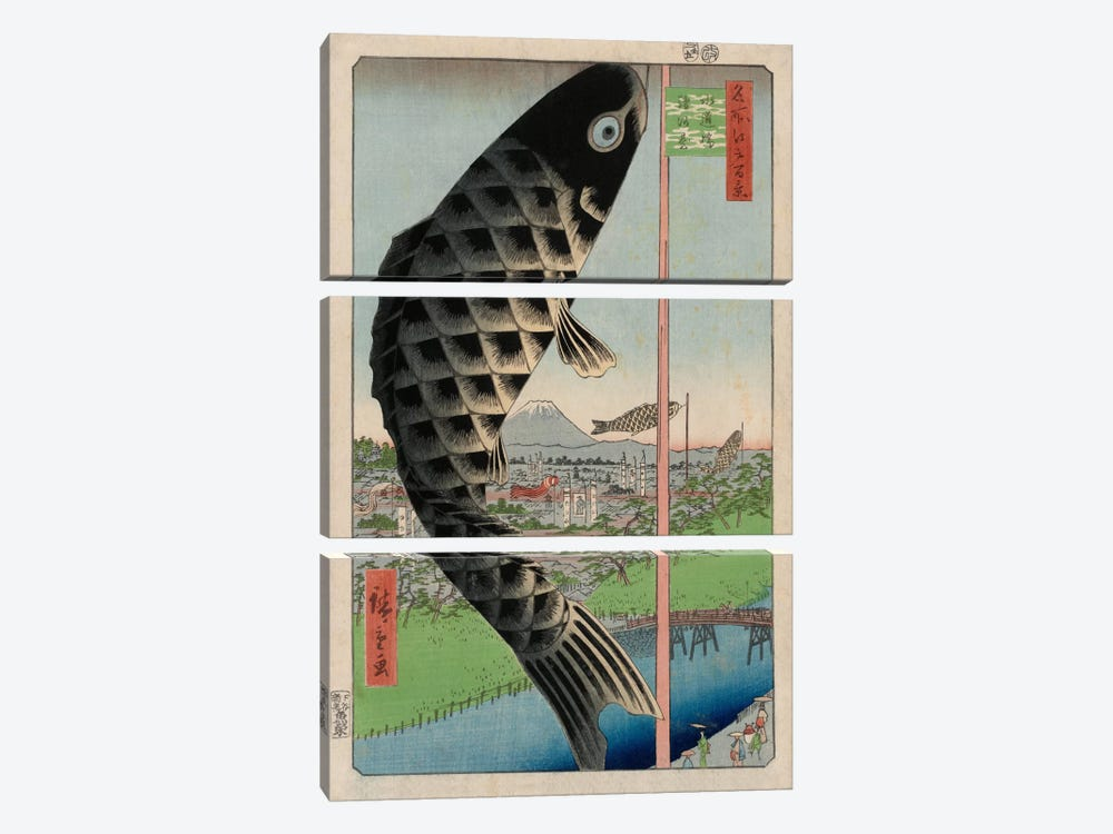 Suidobashi Surugadai (Suido Bridge and Surugadai) by Utagawa Hiroshige 3-piece Canvas Print
