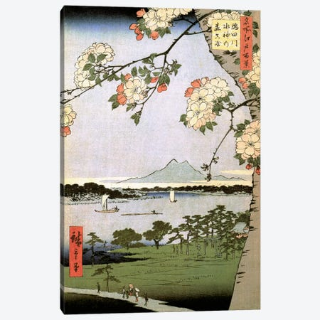 Sumidagawa Suijin no mori Massaki (Suijin Shrine and Massaki on the Sumida River) Canvas Print #13623} by Utagawa Hiroshige Canvas Wall Art