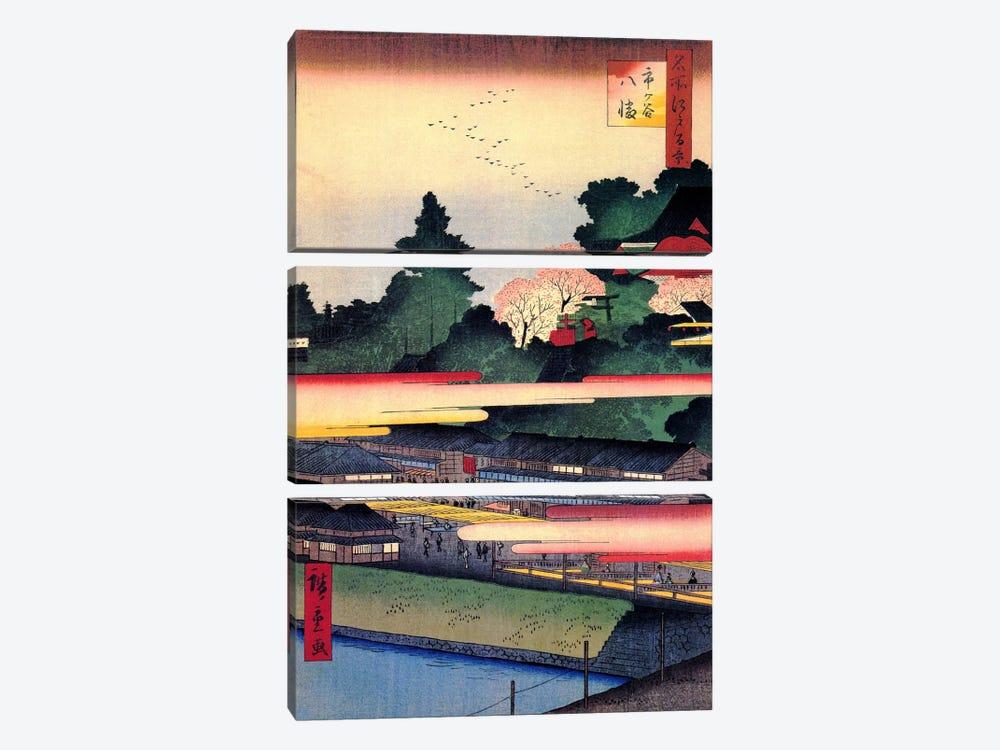 Ichigaya Hachiman (Ichigaya Hachiman Shrine) by Utagawa Hiroshige 3-piece Canvas Artwork