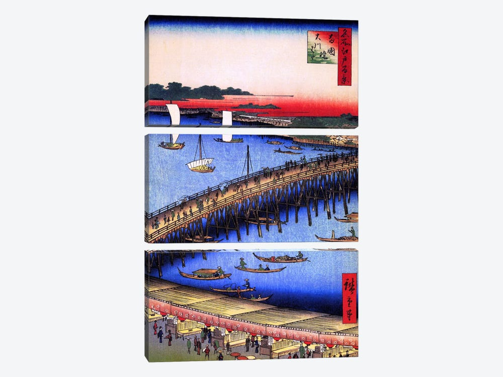Ryogokubashi Okawabata (Ryogoku Bridge and The Great Riverbank) by Utagawa Hiroshige 3-piece Art Print