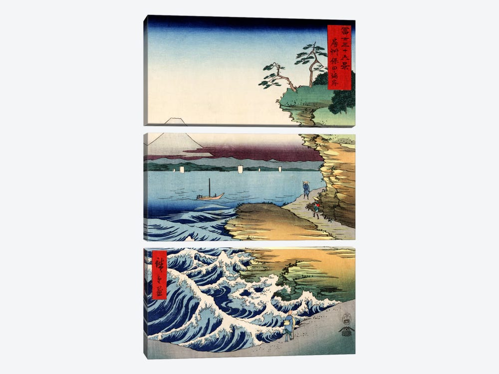 Boshu Kubota no kaigan (The Seacoast at Kubota in Awa Province) by Utagawa Hiroshige 3-piece Canvas Wall Art