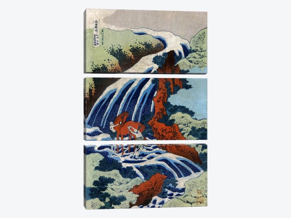 Washu Yoshino Yoshitsune uma arai no taki by Katsushika Hokusai 3-piece Canvas Art Print