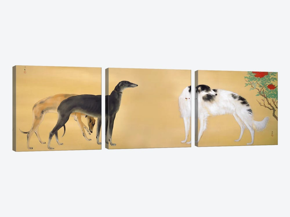 Dogs from Europe by Hashimoto Kansetsu 3-piece Canvas Artwork