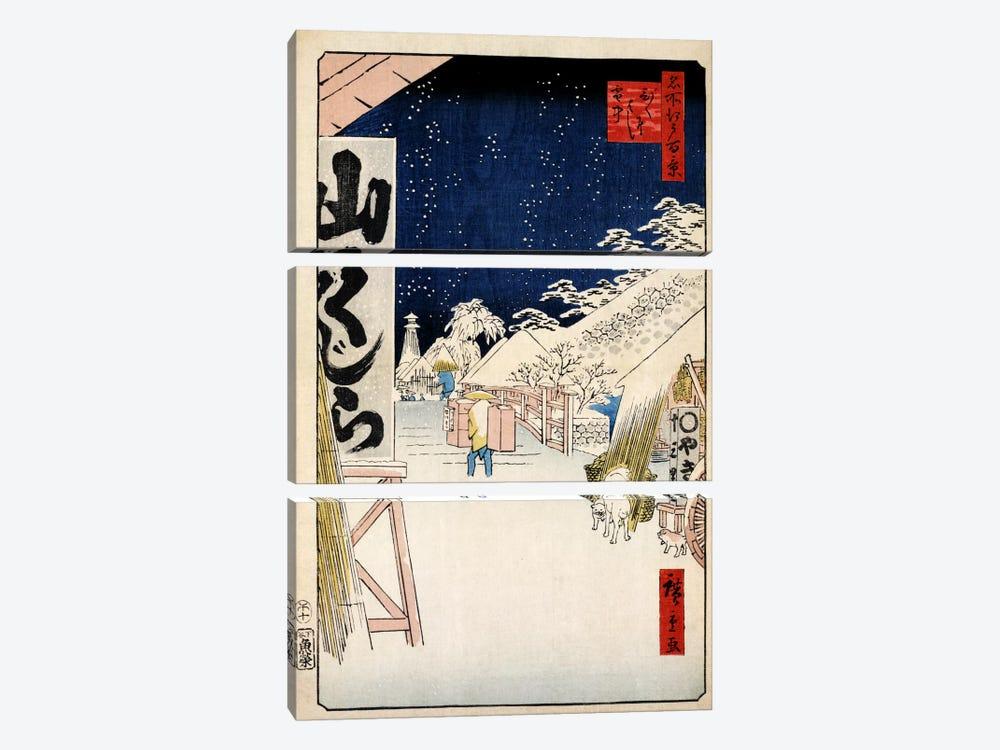 Bikunibashi setchu (Bikuni Bridge In Snow) by Utagawa Hiroshige 3-piece Canvas Artwork