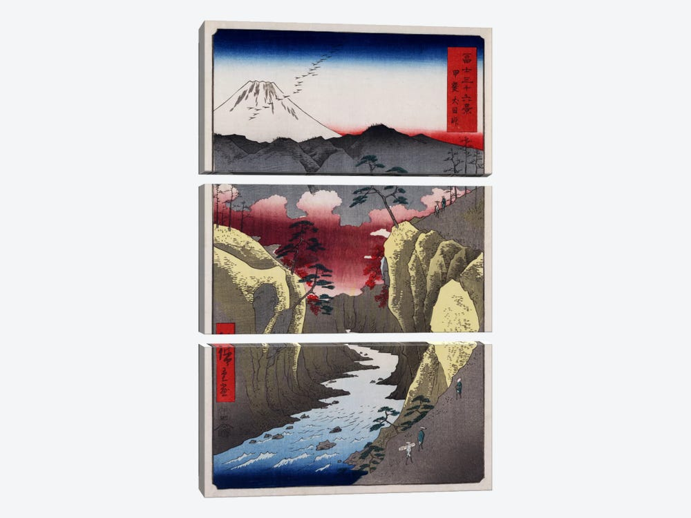 Kai Inume toge (Inume Pass in Kai Province) by Utagawa Hiroshige 3-piece Canvas Art Print
