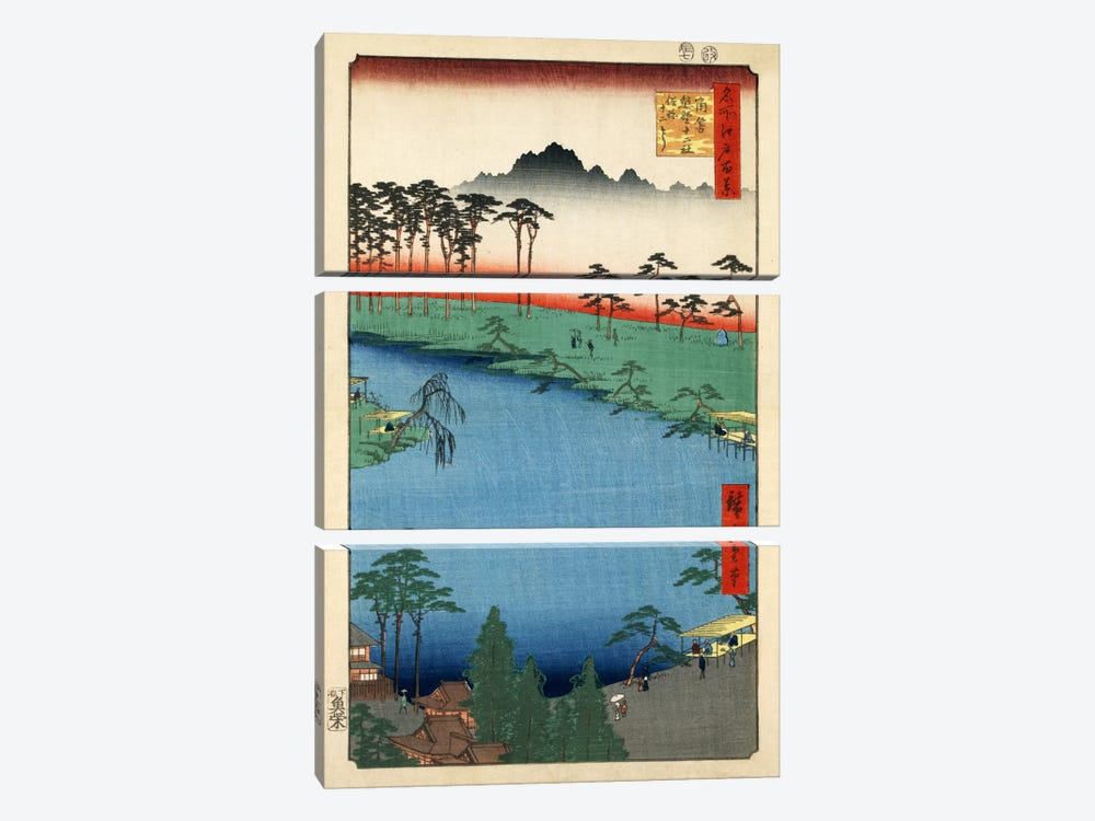 Tsunohazu Kumano Junisha zokusho Juniso (Kumano Junisha Shrine, Tsunohazu) by Utagawa Hiroshige 3-piece Canvas Wall Art