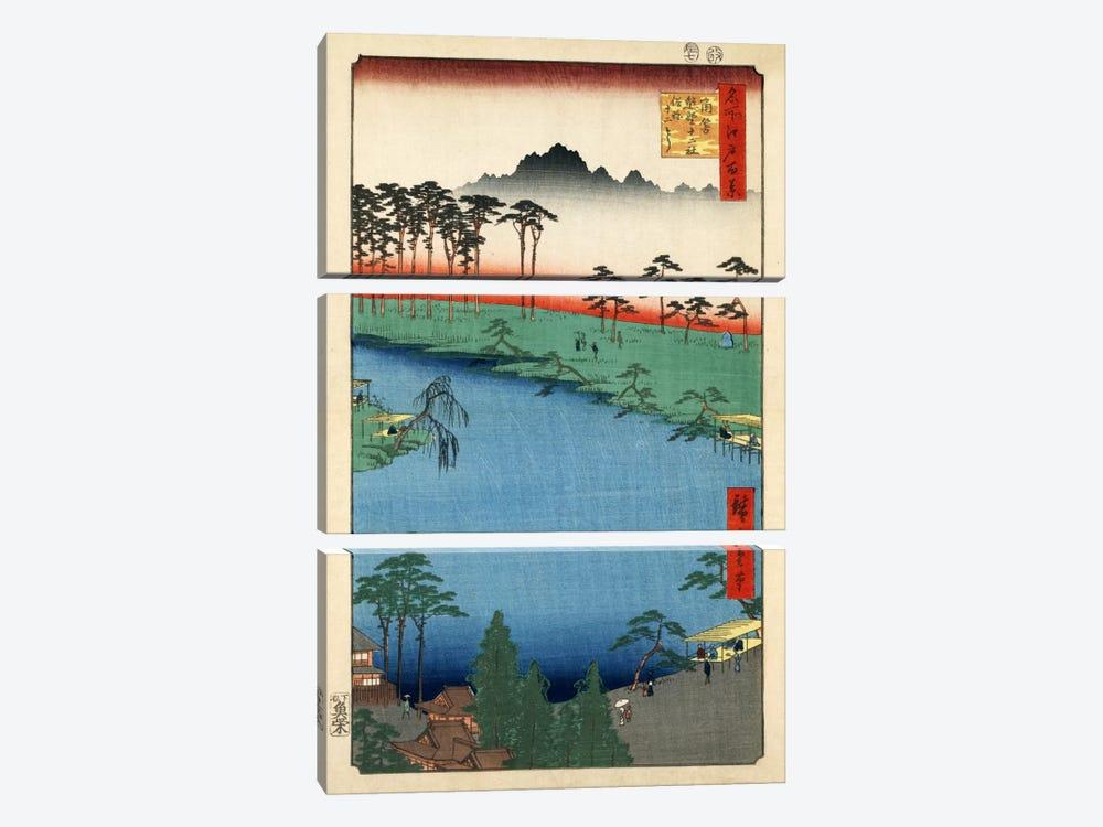 Tsunohazu Kumano Junisha zokusho Juniso (Kumano Junisha Shrine, Tsunohazu) by Utagawa Hiroshige 3-piece Canvas Wall Art