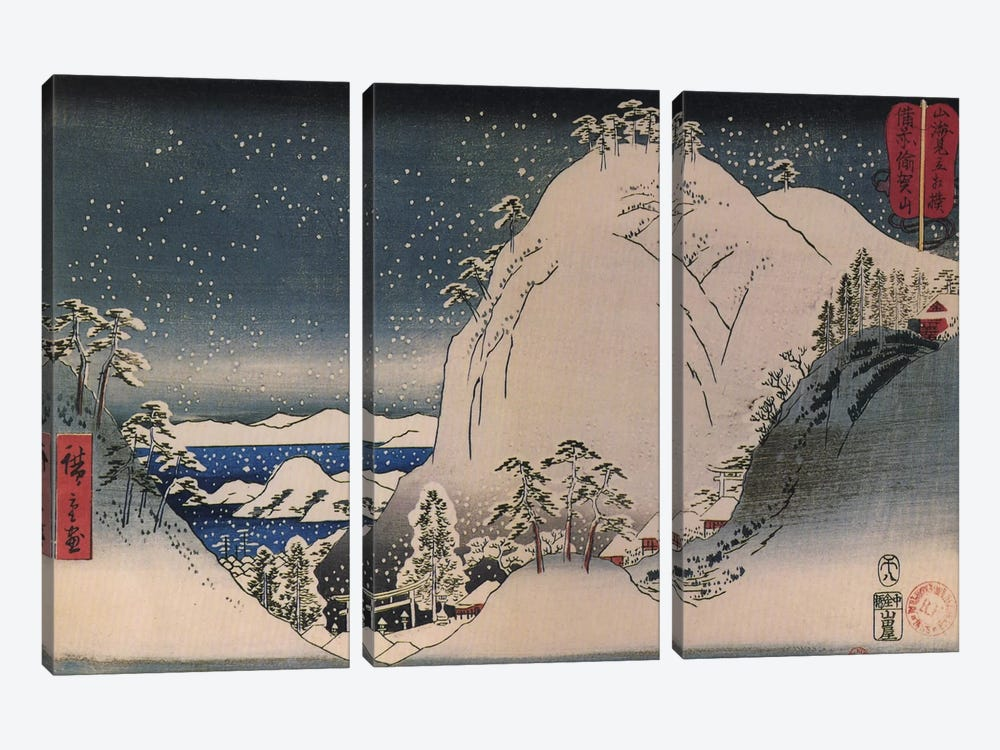 Bizen Yugayama (Mount Yuga in Bizen Province) by Utagawa Hiroshige 3-piece Canvas Wall Art