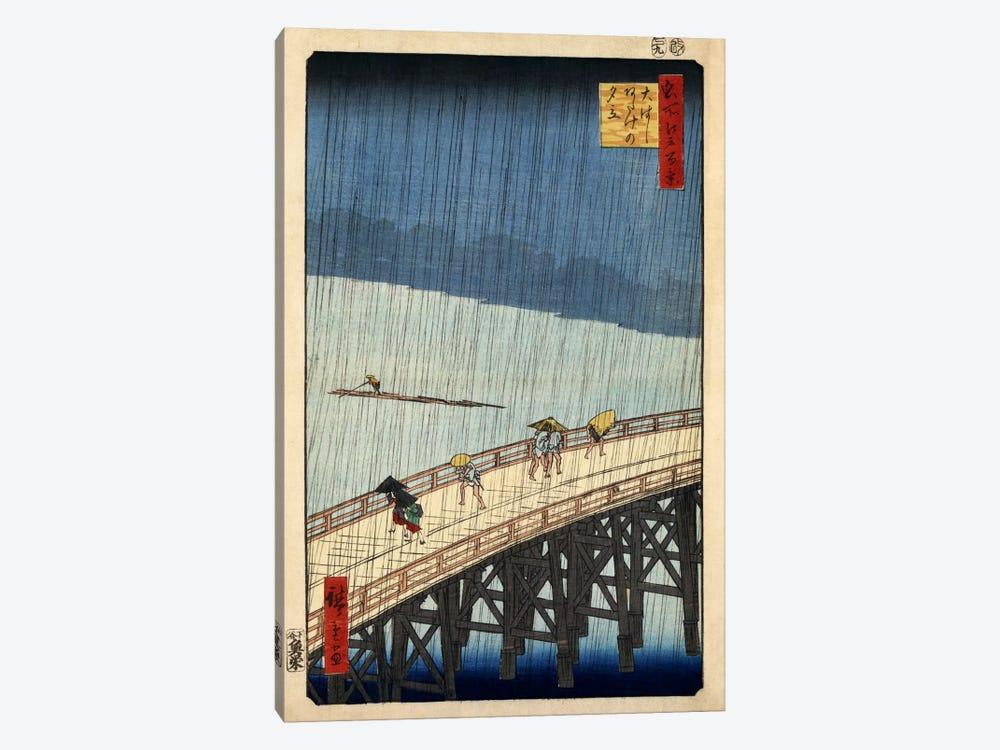 Ohashi Atake no yudachi (Sudden Shower over Shin-Ohashi Bridge and Atake) by Utagawa Hiroshige 1-piece Canvas Art Print