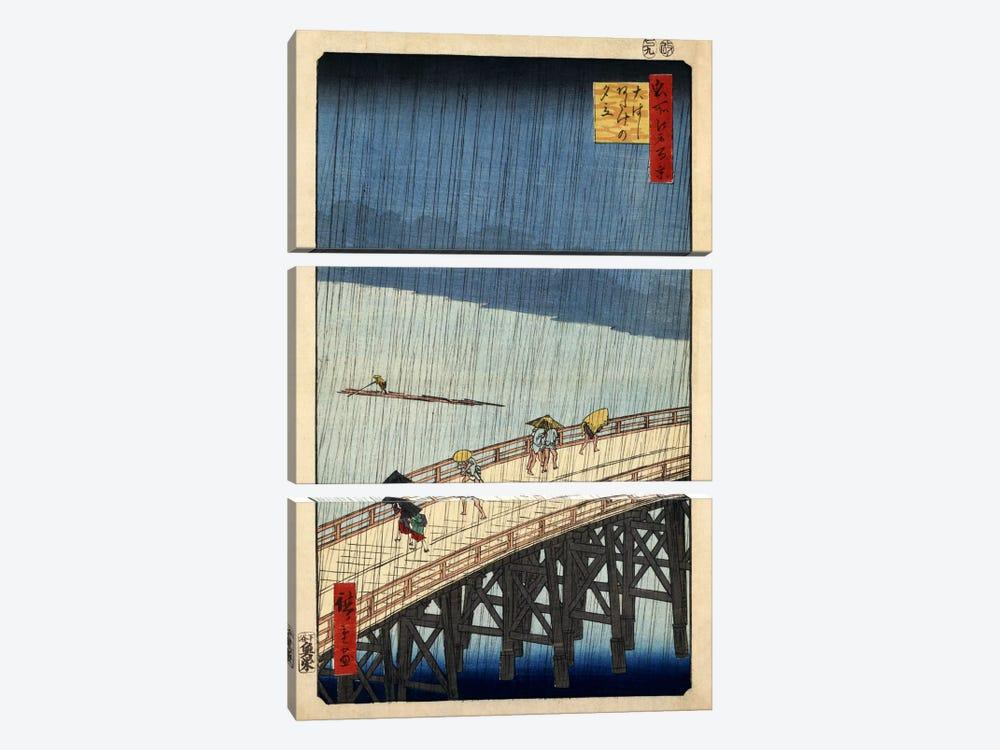 Ohashi Atake no yudachi (Sudden Shower over Shin-Ohashi Bridge and Atake) by Utagawa Hiroshige 3-piece Canvas Print