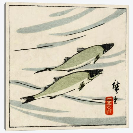 Ayu zu (River Trout) Canvas Print #13669} by Utagawa Hiroshige Canvas Artwork