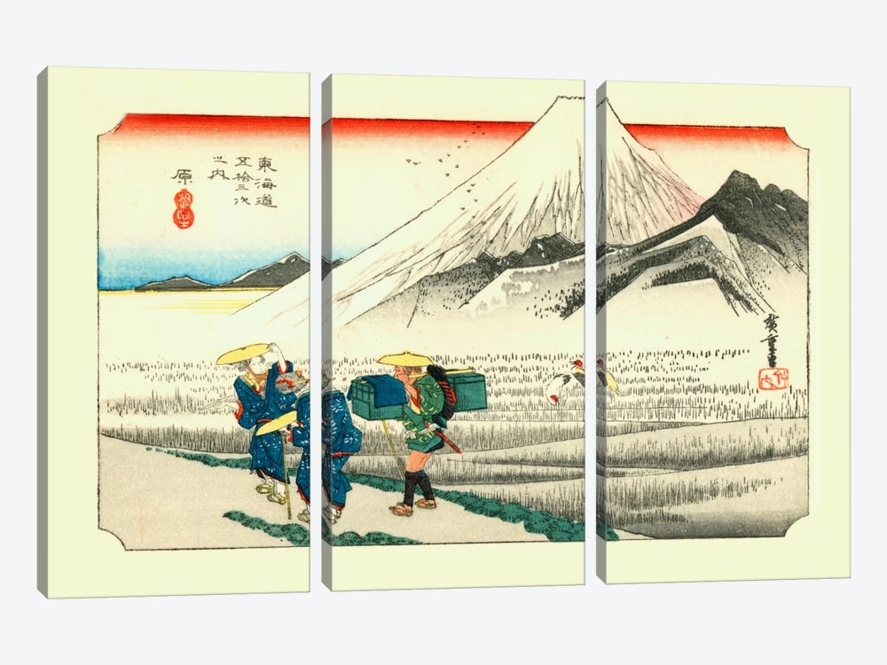 Hara, asa no Fuji (Hara: Mount Fuji in the Morning) by Utagawa Hiroshige 3-piece Canvas Artwork