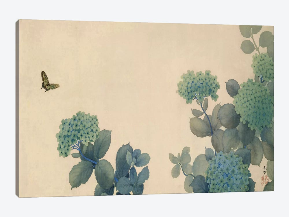 Hydrangeas by Hishida Shunso 1-piece Canvas Wall Art