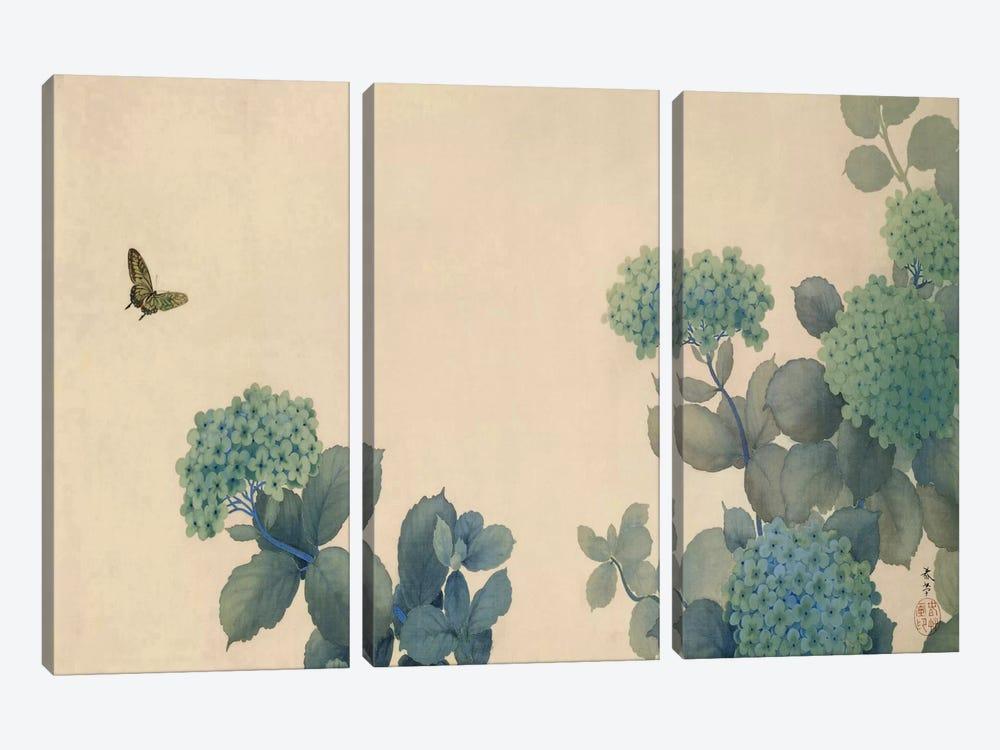 Hydrangeas by Hishida Shunso 3-piece Canvas Wall Art