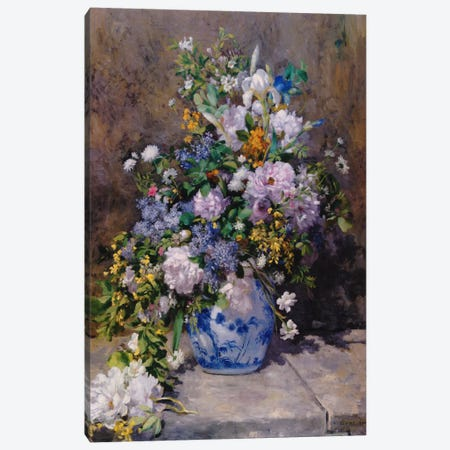 Spring Bouque (grande Vaso Di Fiori) Canvas Print #1368} by Pierre-Auguste Renoir Canvas Print