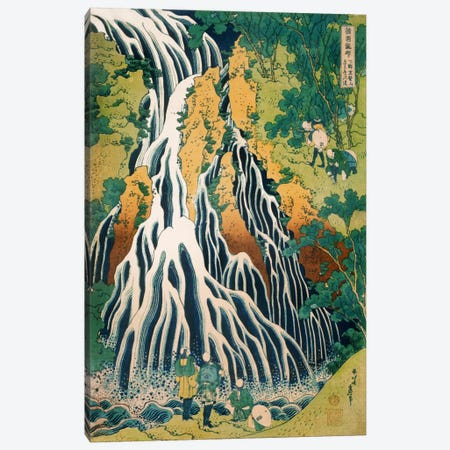 Pilgrims at Kirifuri Waterfall on Mount Kurokami in Shimotsuke Province Canvas Print #13691} by Katsushika Hokusai Art Print