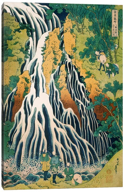 Pilgrims at Kirifuri Waterfall on Mount Kurokami in Shimotsuke Province by Katsushika Hokusai Art Print
