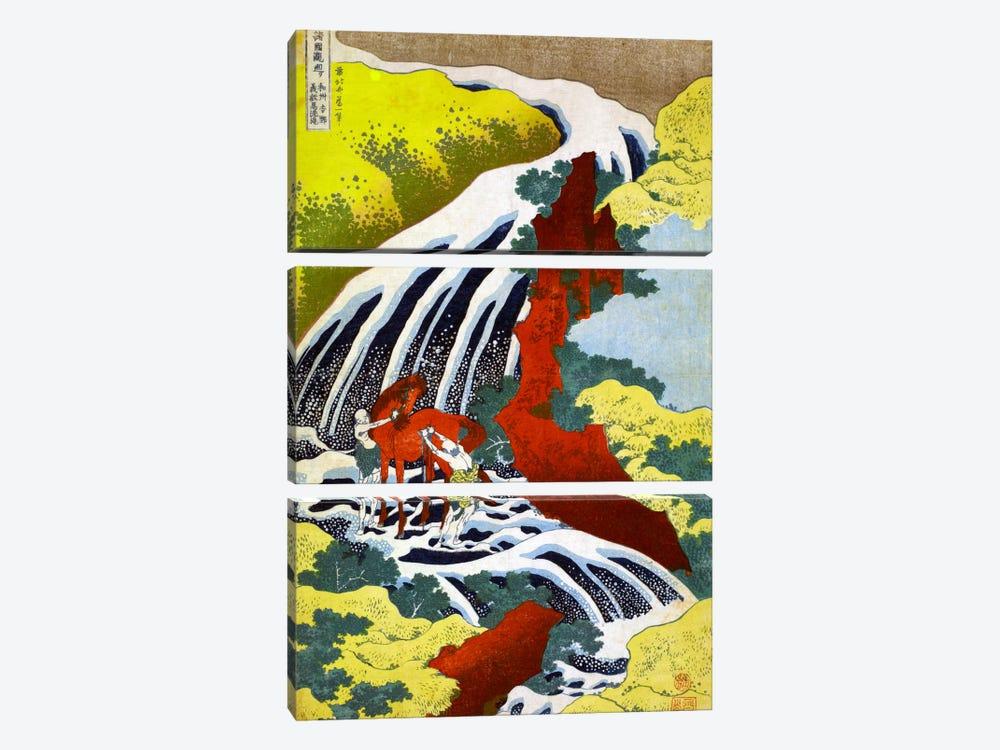 Yoshitsune Falls by Katsushika Hokusai 3-piece Canvas Print