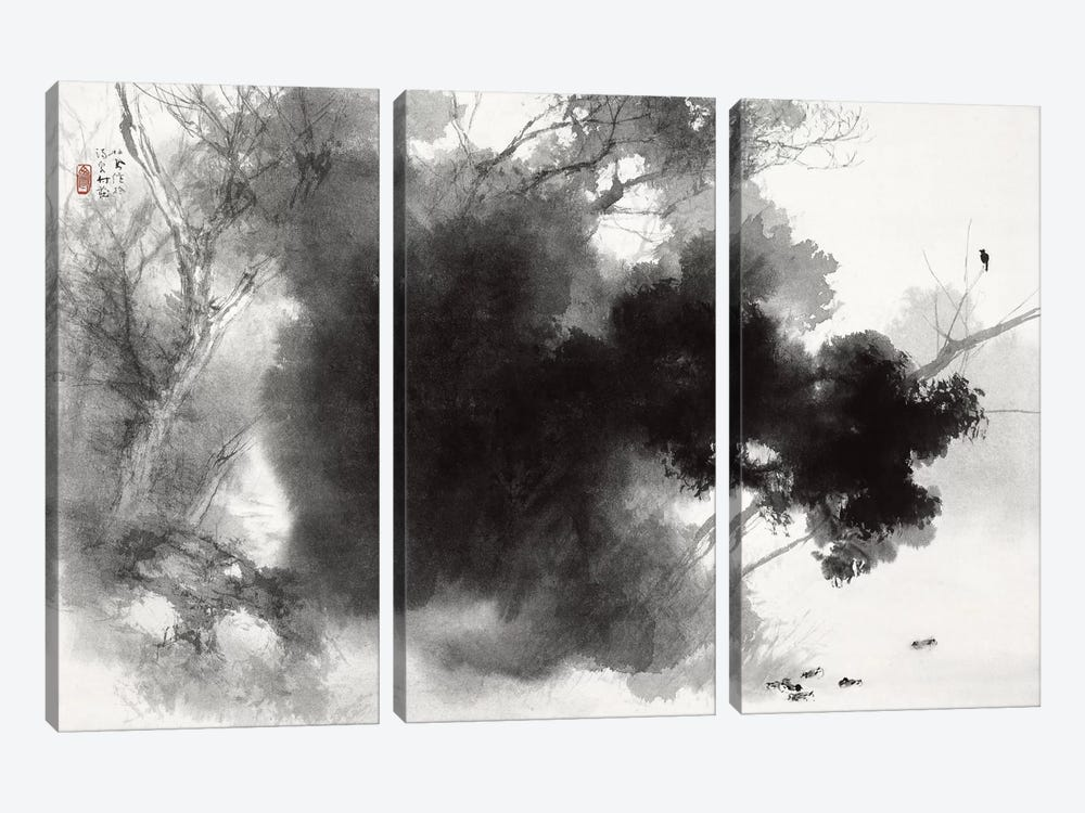 Birds at Roost by Takeuchi Seiho 3-piece Canvas Art