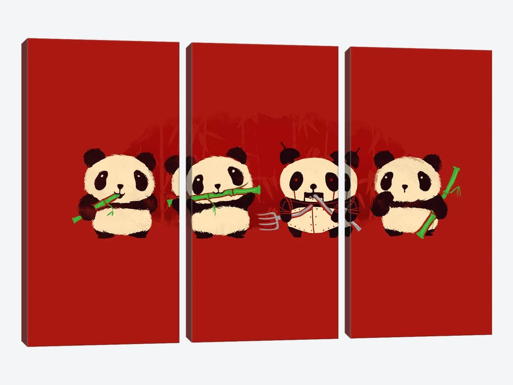 Panda 2000 by Budi Satria Kwan 3-piece Canvas Artwork