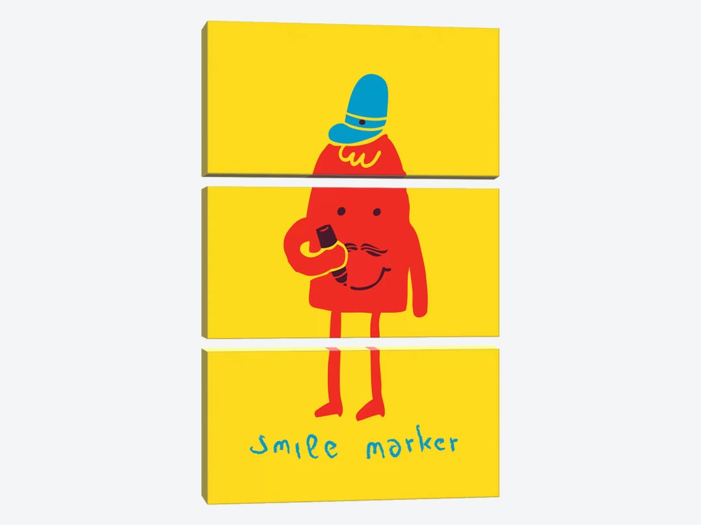Smile Marker 3-piece Canvas Print