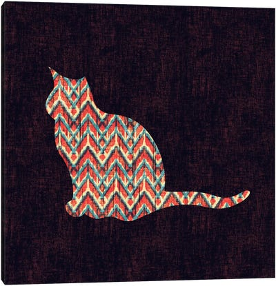 Ikat Cat Canvas Art Print