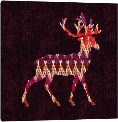 Ikat Deer Canvas Art Print