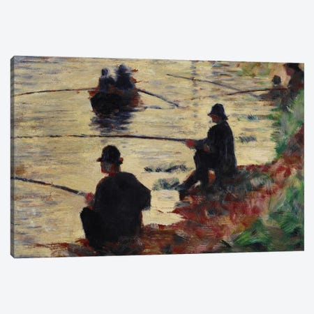 Anglers 3-Piece Canvas #1388} by Georges Seurat Art Print