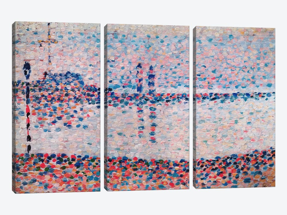 Study For The Channel At Gravelines by Georges Seurat 3-piece Canvas Print
