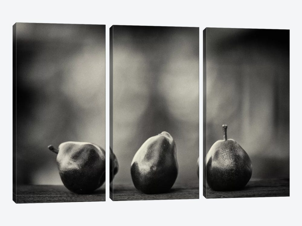 Three Red Pears on the Precipice by Geoffrey Ansel Agrons 3-piece Canvas Art Print