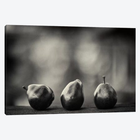 Three Red Pears on the Precipice 3-Piece Canvas #13907} by Geoffrey Ansel Agrons Canvas Artwork